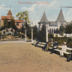 DOROHOI, PARCUL AURORA, CIRCULATA 1916 - Carte Postala Moldova 1904-1918, Tip: Printata, Oras: Botosani