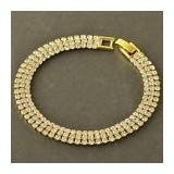 Bratara filata placata aur galben 14k gold filled cu zirconii+saculet cadou