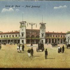 Carte Postala ilustrata, interbelica, Bucuresti, Gara de Nord, Necirculata, Fotografie