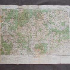 HARTA MILITARA GERMANA * ZONA VALENII DE MUNTE / BUCEGI ( 85X63 CM ) - 1940