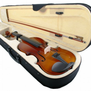 Set vioara clasica normala lemn  4/4 cu toc tip cutie cu maner  si arcus