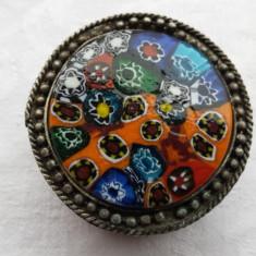 Cutie bijuterii cu ornament capac medalion sticla de Murano Veche Splendida Rara