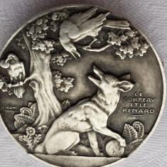 Brosa Franta 1900 vintage scena fabula Corbul si Vulpea Jean de La Fontaine Rara