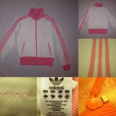 Bluza Adidas Originals (M) alb cu roz dama casual sport retro vintage - Bluza dama, Marime: 40, Culoare: Din imagine