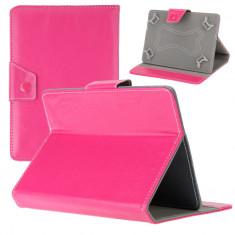 Husa Tableta 8 Inch Model X, Roz Aprins, Tip Mapa, Prindere 4 Cleme C92, Universal