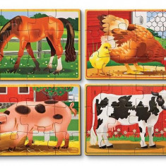 Set 4 Puzzle Melissa & Doug Lemn In Cutie Animale Domestice Melissa And Doug