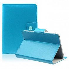 Husa Tableta 8 Inch Model X, Turcoaz, Tip Mapa, Prindere 4 Cleme C93, Universal