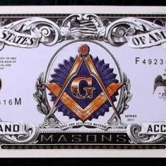 BANCNOTA FANTASY NOTE SUA 2011 mason / masonica / masonerie UNC ** - bancnota america