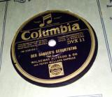 Disc ebonita patefon Des sanger's geburtstag tell 1 / tell2 - Columbia, VINIL