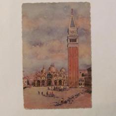 "CY - Ilustrata VENEZIA ""Piata San Marco & Clopotnita"" veche acuarela Italia 1930"