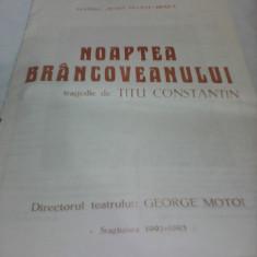 PLIANT RECLAMA TEATRUL MARIA FILOTTI BRAILA-NOAPTEA BRANCOVEANULUI 1992-1993