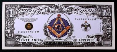 BANCNOTA FANTASY NOTE SUA 2011 mason / masonica / masonerie UNC ** foto