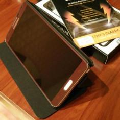 Husa flip / cover / toc piele neagra + FOLIE Samsung Galaxy Note 3 N9005 Black - Husa Telefon Samsung, Negru