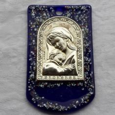 MEDALION argint FECIOARA MARIA cu PRUNCUL pe sticla de murano UNICAT sau ICOANA