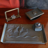 Set suport birou interbelic, original Art Deco, marcat Stjarn Metall.
