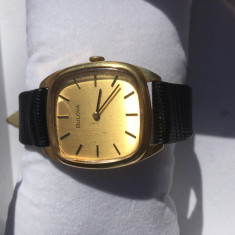Ceas Mecanic-manual Bulova din Aur 18k anii 70 - Ceas barbatesc Bulova, Lux - elegant, Piele, Analog