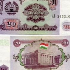 TADJIKISTAN- 20 RUBLE 1994- UNC!! - bancnota asia