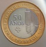 """BRAZILIA KM#NEW - 1 Real 2015 UNC """"50 Ani BANCA CENTRALA"""" 27mm, America Centrala si de Sud"""