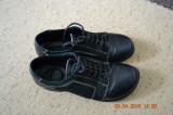 Pantofiori negri din piele, 35, Negru