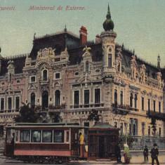 BUCURESTI, MINISTERUL DE EXTERNE, TRAMVAI CU CAI - Carte Postala Muntenia 1904-1918, Necirculata, Printata