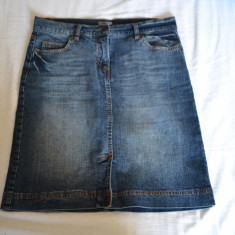 Fusta blugi MONTEGO marimea L (40) / Fusta denim originala / Fusta jeans M/L, Culoare: Albastru, Midi, Asimetrica, Bumbac