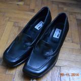 Pantofi negri de piele - Pantof dama, Culoare: Negru, Marime: 38