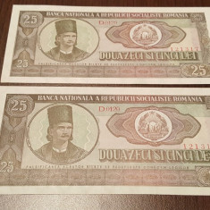 LOT 2 BUC. 25 LEI 1966 UNC - SERII CONSECUTIVE - Bancnota romaneasca