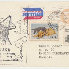 SUA Carte postala statie NASA telecomunicatii cu autograf spre Romania 1983