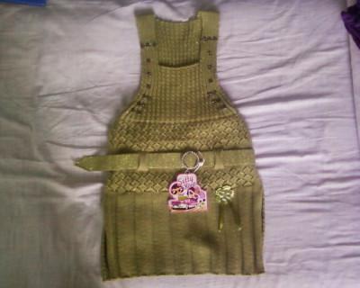 Sarafan verde tricotat cu fir lurex foto