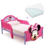 Set Pat Cu Cadru Metalic Disney Minnie Mouse 3D Si Saltea Pentru Patut Dreamily - 140 X 70 X 10 Cm, 140x70cm, Roz, Delta Children