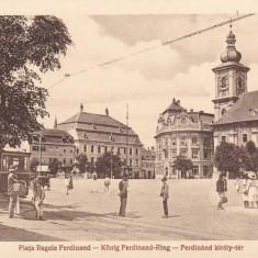 SIBIU, PIATA REGELE FERDINAND, TRAMVAI, TRASURA, ANIMATA - Carte Postala Transilvania dupa 1918, Necirculata, Printata