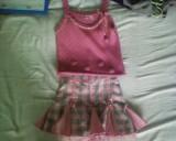 Set roz vesta cu fusta Bestido Collection
