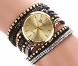 Ceas dama Fashion bratari multiple curea lunga neagra cristale + cutie cadou, Mecanic-Manual, Analog