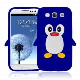 Husa silicon model pinguin Samsung Galaxy S3 i9300 + folie ecran, Albastru