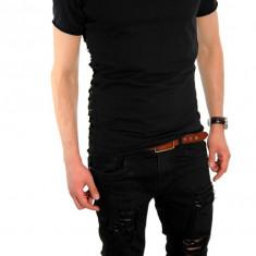 Tricou negru - tricou barbati - tricou slim fit - tricou fashion - 6289, Marime: S, M, L, XL, Culoare: Din imagine, Maneca scurta