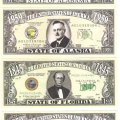 !!! SUA - FANTASY NOTES, SET COMPLET (50) STATELE SUA - UNC - bancnota america