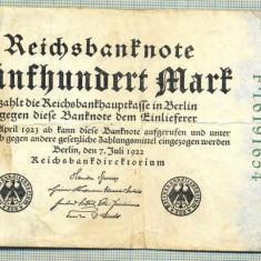 A 70 BANCNOTA-GERMANIA- 500 MARK- anul 1923 -SERIA 16191654 -starea care se vede
