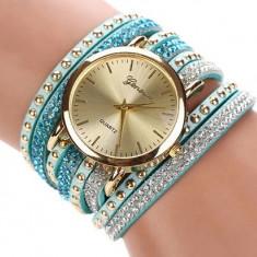 Ceas dama Fashion bratari multiple curea lunga cristale + cutie cadou, Mecanic-Manual, Analog