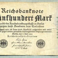 A 22 BANCNOTA-GERMANIA - 500 MARK- anul 1923 -SERIA 6592464 -starea care se vede