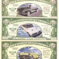 !!! SUA = FANTASY NOTES = LOT 5 MASINI CLASICE AMERICANE - 2002 - UNC - bancnota america