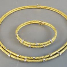 Set Colier si bratara aur 18k cu diamante - Set bijuterii aur