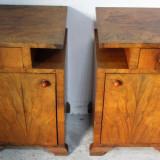 Set 2 noptiere Art Deco din lemn masiv; Dulap; Comoda mica; Noptiera