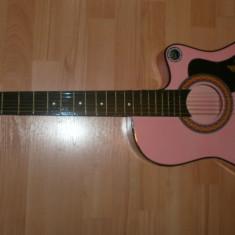 Chitara pentru incepatori model elvis culoare roz si husa