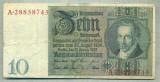 A 191 BANCNOTA-GERMANIA- 10 MARK- anul 1929 -SERIA 28858745 -starea care se vede