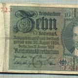A 136 BANCNOTA-GERMANIA- 10 MARK- anul 1929 -SERIA 24571723 -starea care se vede