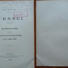 Henri Focillon , Plictiseala , 1909 , autograf catre George Oprescu , ex libris