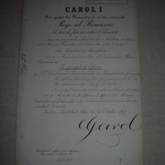 BREVET, SEMNAT DE REGELE CAROL I SI DIMITRIE STURDZA, 1897, PELES
