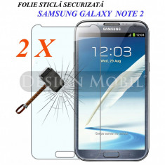 2X FOLIE DE STICLA SAMSUNG GALAXY NOTE 2 (N7100) TEMPERED GLASS (2 BUC ) - Folie de protectie