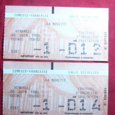 2 Bilete intregi la Comedia Franceza 1980 Sala Richelieu - Bilet concert