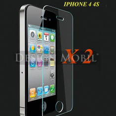 2X FOLIE DE STICLA IPHONE 4 4S TEMPERED GLASS SUPER OFERTA (2 BUC) - Folie de protectie Apple